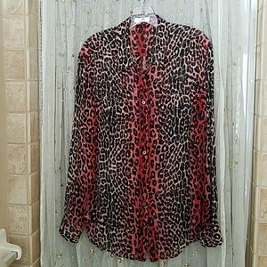 Equipment long sleeve chiffon blouse EUC